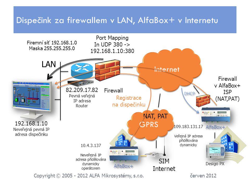 192.168.1.10 Neveřejná pevná IP adresa dispečinku červen 2012 Copyright © 2005 - 2012 ALFA Mikrosystémy, s.r.o.