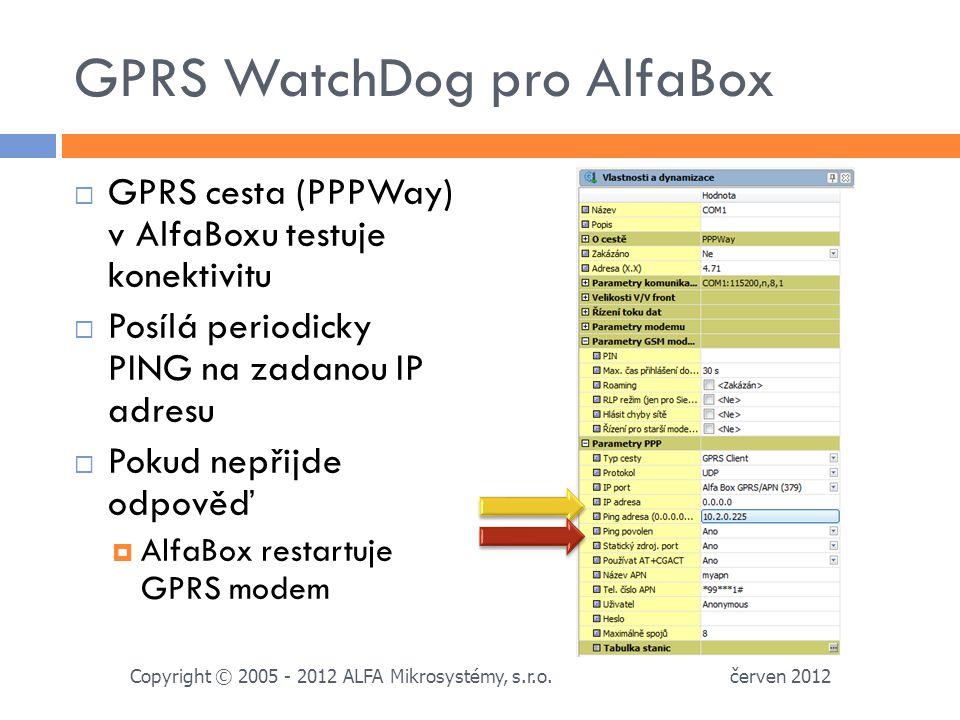 GPRS WatchDog pro AlfaBox  GPRS cesta (PPPWay) v AlfaBoxu testuje konektivitu  Posílá periodicky PING na zadanou IP adresu  Pokud nepřijde odpověď  AlfaBox restartuje GPRS modem červen 2012 Copyright © 2005 - 2012 ALFA Mikrosystémy, s.r.o.