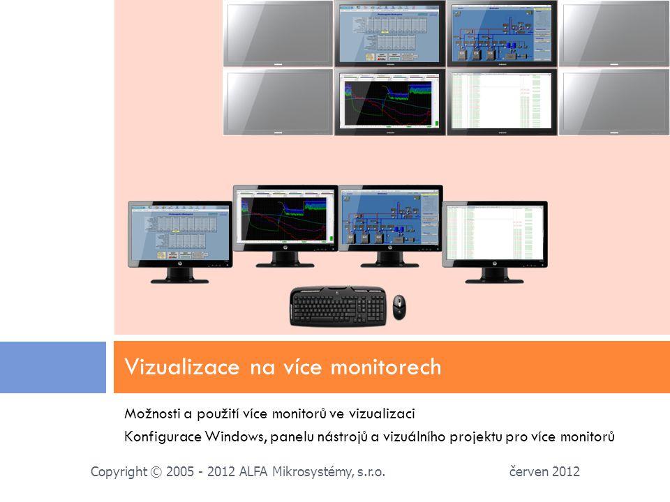 Možnosti a použití více monitorů ve vizualizaci Konfigurace Windows, panelu nástrojů a vizuálního projektu pro více monitorů Vizualizace na více monitorech červen 2012 Copyright © 2005 - 2012 ALFA Mikrosystémy, s.r.o.