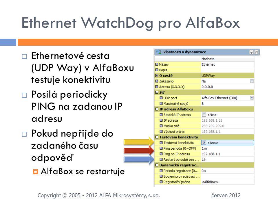 Ethernet WatchDog pro AlfaBox  Ethernetové cesta (UDP Way) v AlfaBoxu testuje konektivitu  Posílá periodicky PING na zadanou IP adresu  Pokud nepřijde do zadaného času odpověď  AlfaBox se restartuje červen 2012 Copyright © 2005 - 2012 ALFA Mikrosystémy, s.r.o.