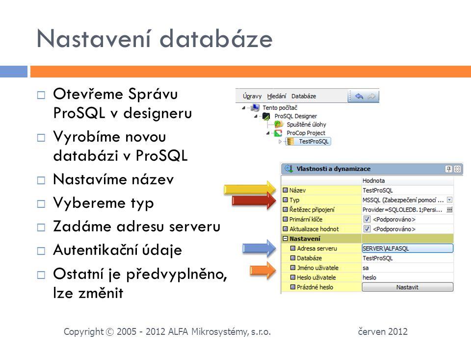 Nastavení databáze  Otevřeme Správu ProSQL v designeru  Vyrobíme novou databázi v ProSQL  Nastavíme název  Vybereme typ  Zadáme adresu serveru  Autentikační údaje  Ostatní je předvyplněno, lze změnit červen 2012 Copyright © 2005 - 2012 ALFA Mikrosystémy, s.r.o.