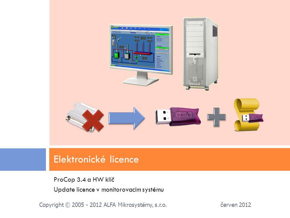 ProCop 3.4 a HW klíč Update licence v monitorovacím systému Elektronické licence červen 2012 Copyright © 2005 - 2012 ALFA Mikrosystémy, s.r.o.
