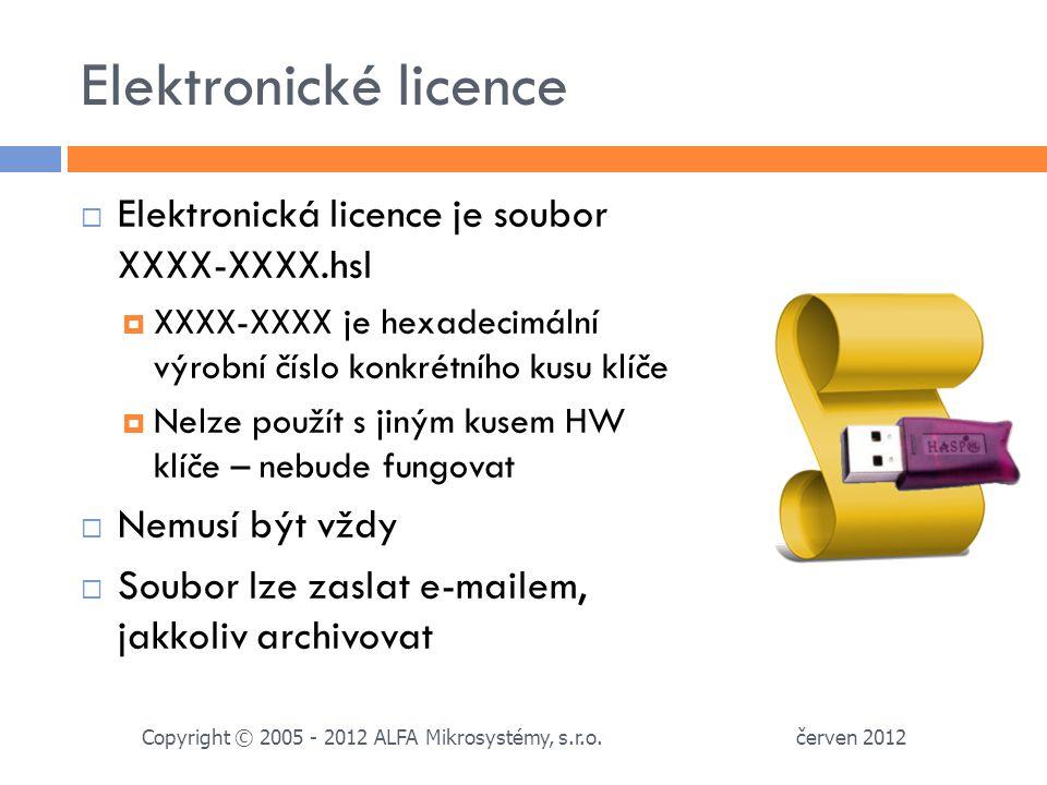 Elektronické licence  Elektronická licence je soubor XXXX-XXXX.hsl  XXXX-XXXX je hexadecimální výrobní číslo konkrétního kusu klíče  Nelze použít s jiným kusem HW klíče – nebude fungovat  Nemusí být vždy  Soubor lze zaslat e-mailem, jakkoliv archivovat červen 2012 Copyright © 2005 - 2012 ALFA Mikrosystémy, s.r.o.