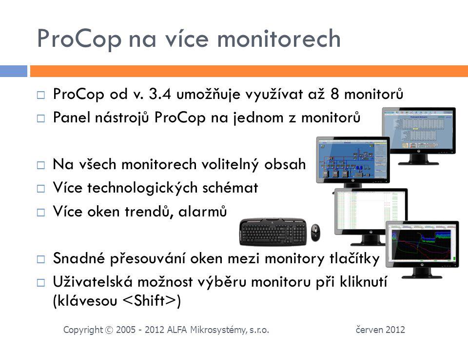 ProCop na více monitorech červen 2012 Copyright © 2005 - 2012 ALFA Mikrosystémy, s.r.o.