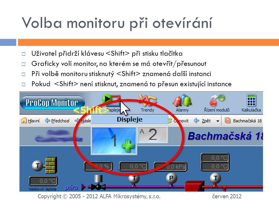 Volba monitoru při otevírání červen 2012 Copyright © 2005 - 2012 ALFA Mikrosystémy, s.r.o.