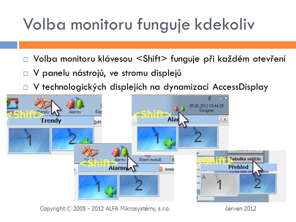 Volba monitoru funguje kdekoliv červen 2012 Copyright © 2005 - 2012 ALFA Mikrosystémy, s.r.o.