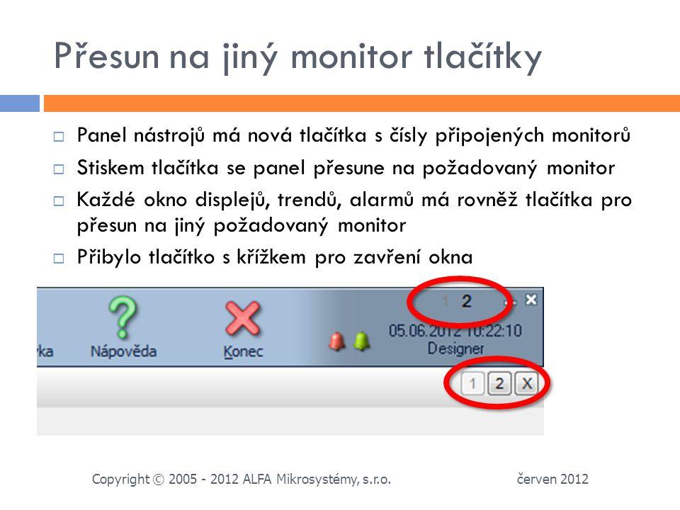 Přesun na jiný monitor tlačítky červen 2012 Copyright © 2005 - 2012 ALFA Mikrosystémy, s.r.o.