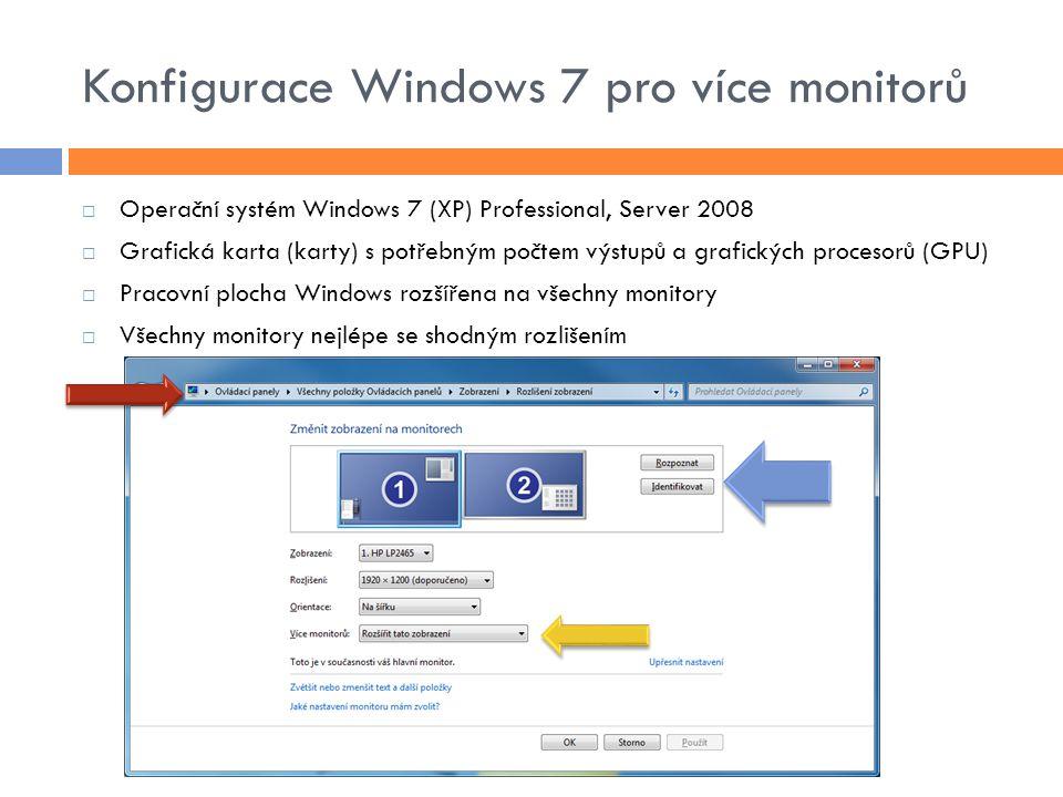 Konfigurace Windows 7 pro více monitorů  Operační systém Windows 7 (XP) Professional, Server 2008  Grafická karta (karty) s potřebným počtem výstupů a grafických procesorů (GPU)  Pracovní plocha Windows rozšířena na všechny monitory  Všechny monitory nejlépe se shodným rozlišením
