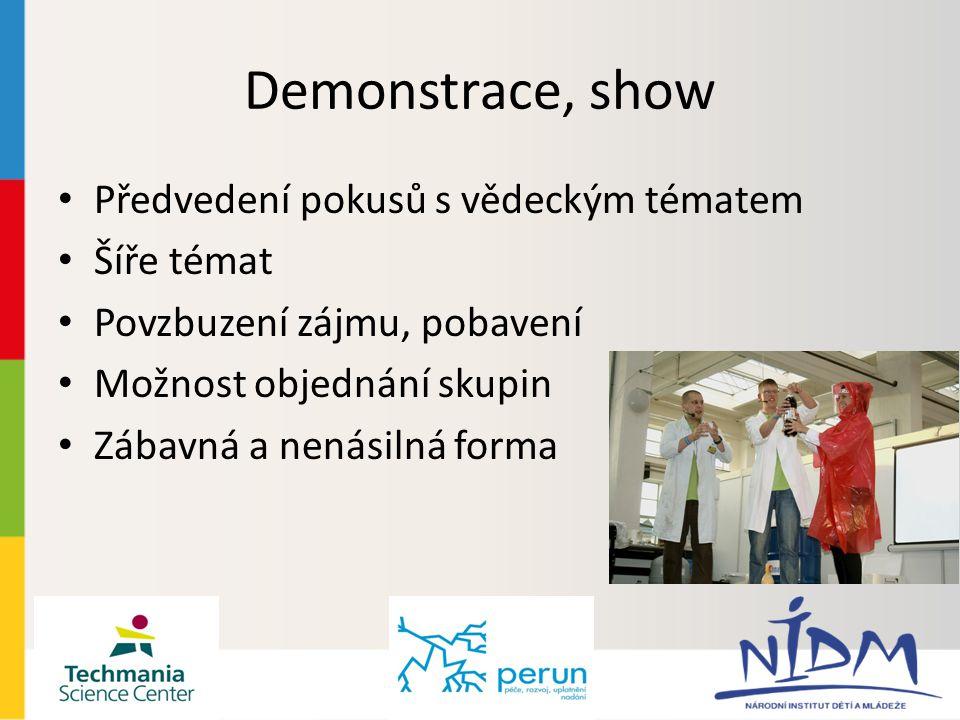 Demonstrace, show Předvedení pokusů s vědeckým tématem Šíře témat Povzbuzení zájmu, pobavení Možnost objednání skupin Zábavná a nenásilná forma