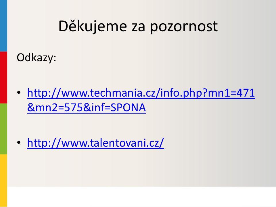 Děkujeme za pozornost Odkazy: http://www.techmania.cz/info.php mn1=471 &mn2=575&inf=SPONA http://www.techmania.cz/info.php mn1=471 &mn2=575&inf=SPONA http://www.talentovani.cz/