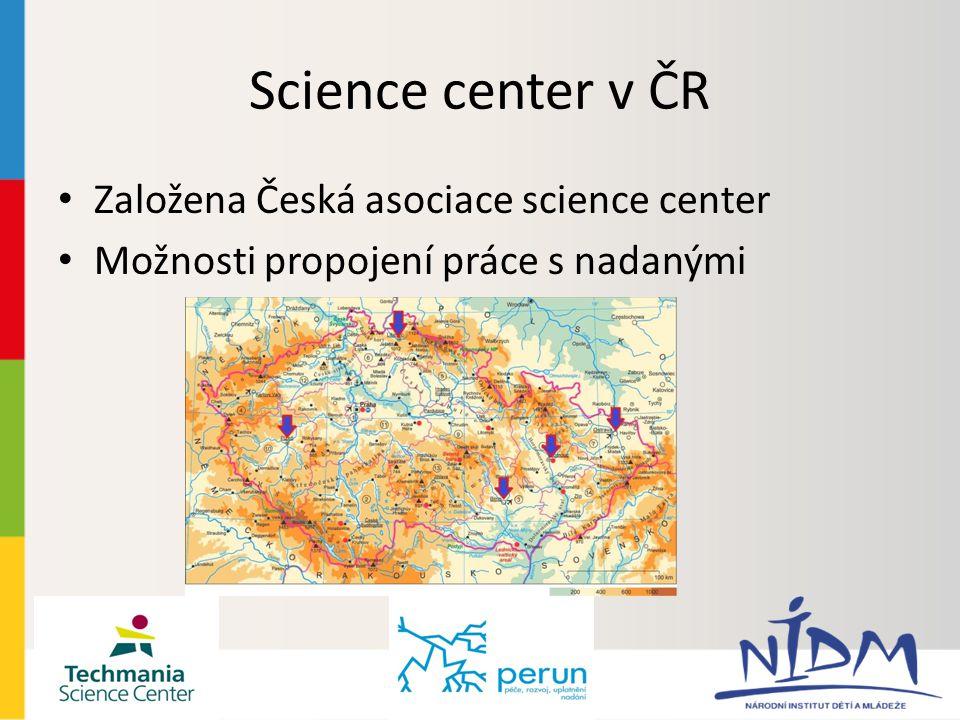 Science center v ČR Založena Česká asociace science center Možnosti propojení práce s nadanými