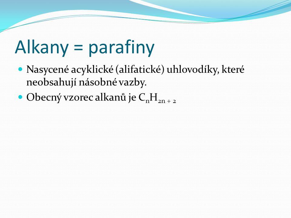 Alkany = parafiny Nasycené acyklické (alifatické) uhlovodíky, které neobsahují násobné vazby. Obecný vzorec alkanů je C n H 2n + 2