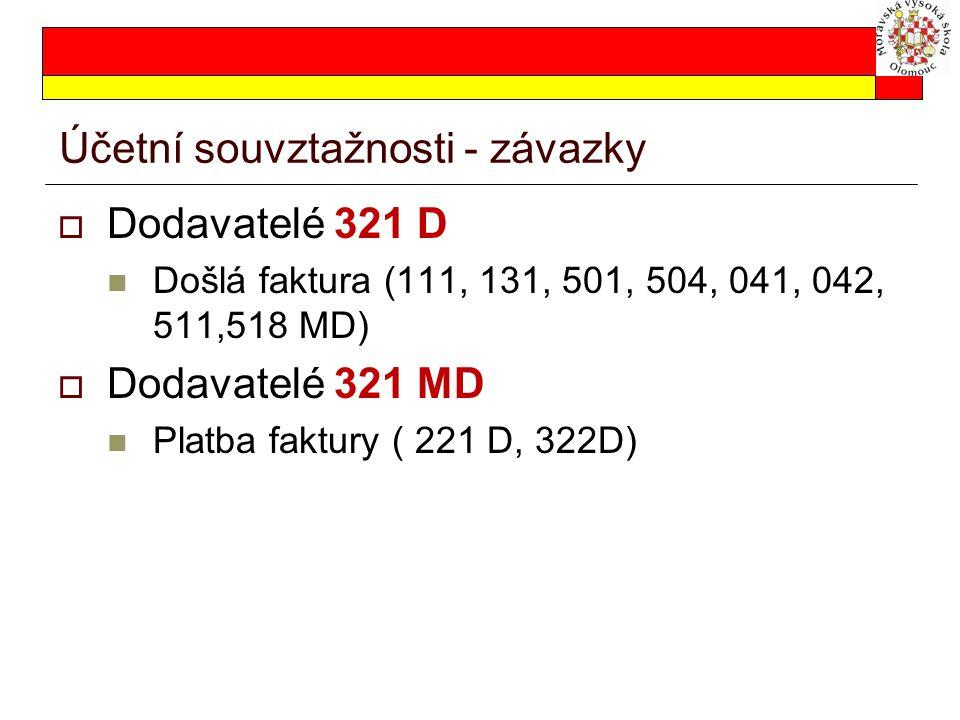Zálohy  Poskytnuté zálohy – vznik pohledávky  314 MD (221 D, 211D)  Přijaté zálohy – vznik závazku  324 D (221 MD, 211 MD)  ALE Poskytnuté zálohy na majetek 05xMD Poskytnuté zálohy na zásoby 15xMD