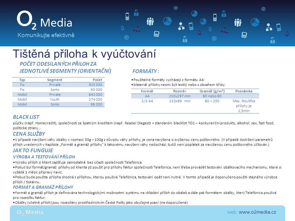 web: www.o2media.cz Komunikujte efektivně TypSegmentPočet FixPrivate925 000 FixSoHo90 000 MobilPrivate843 000 MobilYouth274 000 MobilSoHo98 000 POČET