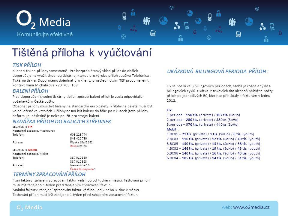 web: www.o2media.cz Komunikujte efektivně Tištěná příloha k vyúčtování TISK PŘÍLOH Klient si tiskne přílohy samostatně. Pro bezproblémový vklad příloh