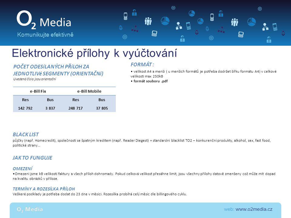 web: www.o2media.cz Komunikujte efektivně Elektronické přílohy k vyúčtování e-Bill Fixe-Bill Mobile ResBusResBus 142 7923 837248 71737 805 POČET ODESí
