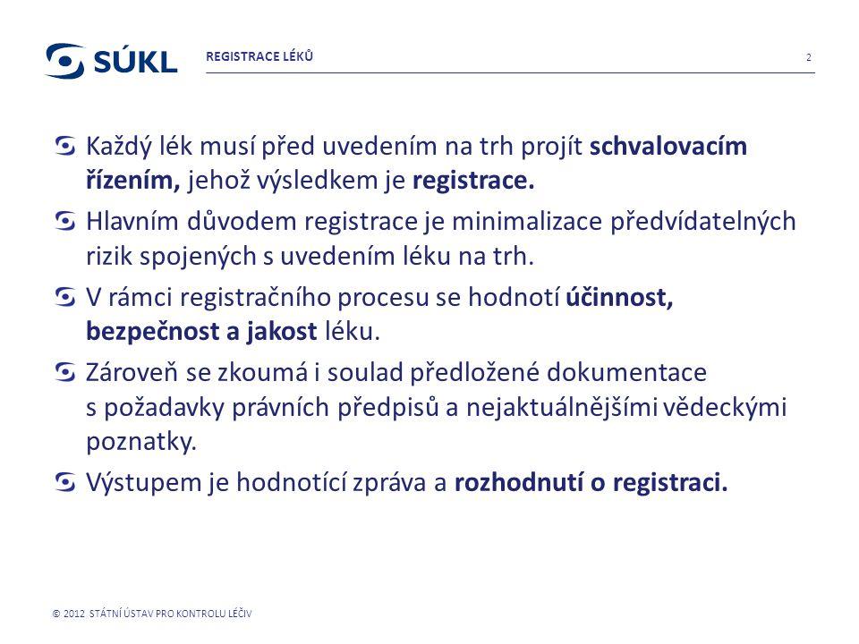 Každý lék musí před uvedením na trh projít schvalovacím řízením, jehož výsledkem je registrace. Hlavním důvodem registrace je minimalizace předvídatel