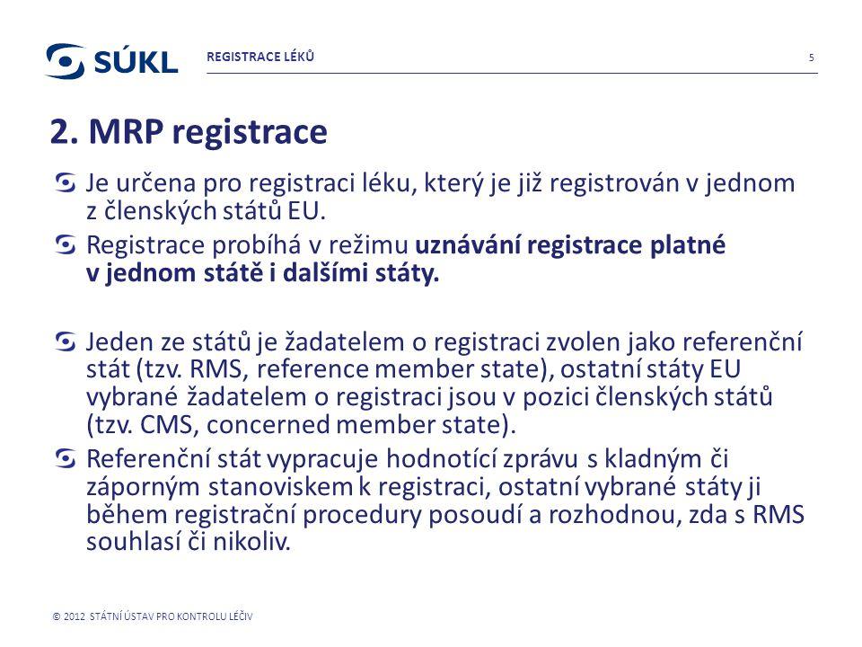 2. MRP registrace Je určena pro registraci léku, který je již registrován v jednom z členských států EU. Registrace probíhá v režimu uznávání registra