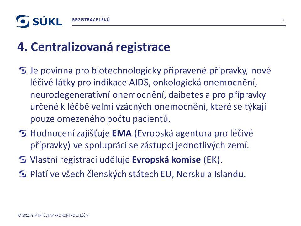 4. Centralizovaná registrace Je povinná pro biotechnologicky připravené přípravky, nové léčivé látky pro indikace AIDS, onkologická onemocnění, neurod