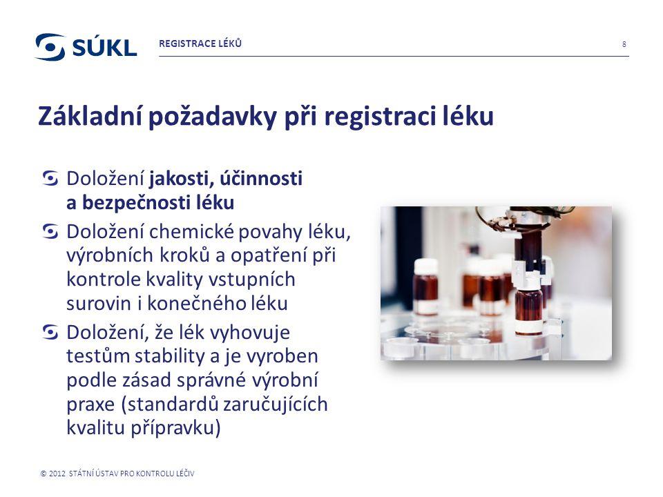 Základní požadavky při registraci léku Doložení jakosti, účinnosti a bezpečnosti léku Doložení chemické povahy léku, výrobních kroků a opatření při ko