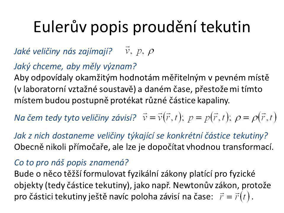 Eulerův popis proudění tekutin Jaké veličiny nás zajímají? Na čem tedy tyto veličiny závisí? Jaký chceme, aby měly význam? Aby odpovídaly okamžitým ho