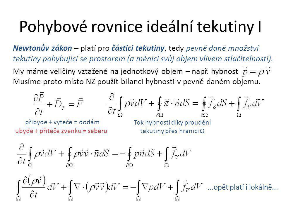 Pohybové rovnice ideální tekutiny I Tok hybnosti díky proudění tekutiny přes hranici Ω Newtonův zákon – platí pro částici tekutiny, tedy pevně dané mn