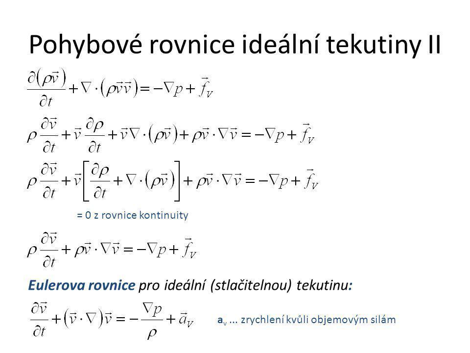 Pohybové rovnice ideální tekutiny II = 0 z rovnice kontinuity Eulerova rovnice pro ideální (stlačitelnou) tekutinu: a v... zrychlení kvůli objemovým s