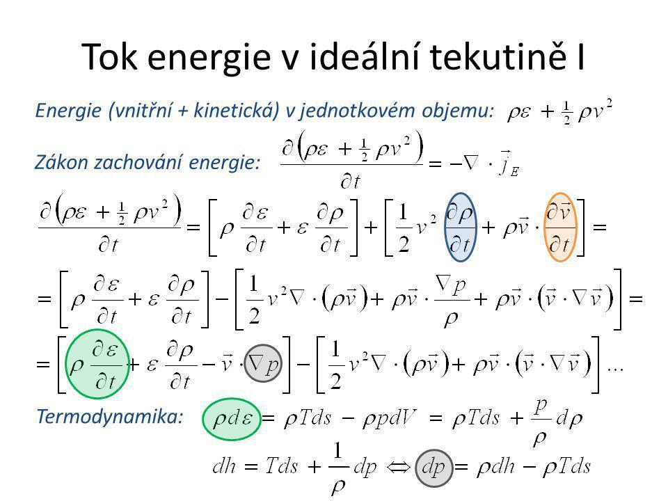 Tok energie v ideální tekutině I Zákon zachování energie: Energie (vnitřní + kinetická) v jednotkovém objemu: Termodynamika: