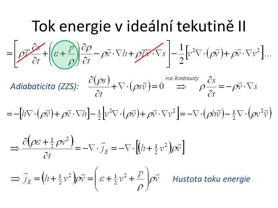 Tok energie v ideální tekutině II Adiabaticita (ZZS): Hustota toku energie