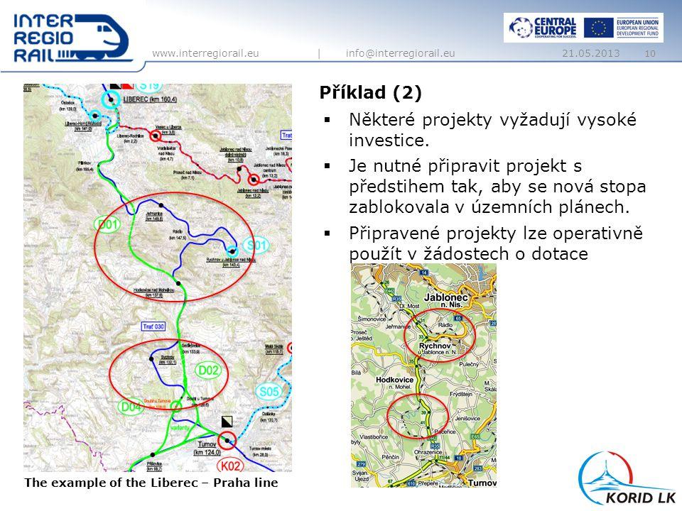 www.interregiorail.eu | info@interregiorail.eu Příklad (2) 10  Některé projekty vyžadují vysoké investice.  Je nutné připravit projekt s předstihem