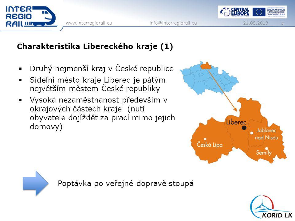 www.interregiorail.eu   info@interregiorail.eu  Chybějící napojení na hlavní železniční koridory  Jediné sídelní krajské město, kterému chybí kvalitní železniční spojení s Prahou  Regionální železnice vedou kopcovitým, místy horským terénem (nejstrmější železnice v ČR)  Regionální tratě jsou dlouhodobě podinvestvané  Zastaralá infrastruktura je příkrém kontrastu se vzrůstající kvalitou vlaků  Snižuje se konkurenceschopnost železnice k ostatním druhům dopravy (automobilová, autobusová) 4 Charateristika Libereckého kraje (2) 21.05.2013