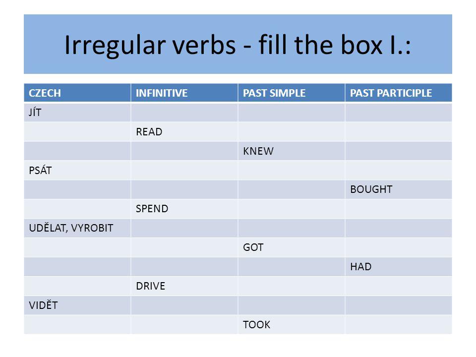 Irregular verbs - fill the box I.: CZECHINFINITIVEPAST SIMPLEPAST PARTICIPLE JÍT READ KNEW PSÁT BOUGHT SPEND UDĚLAT, VYROBIT GOT HAD DRIVE VIDĚT TOOK