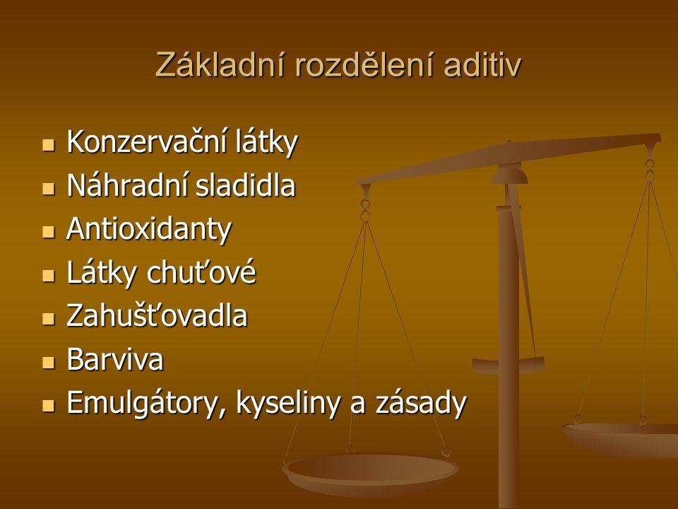 Základní rozdělení aditiv Konzervační látky Konzervační látky Náhradní sladidla Náhradní sladidla Antioxidanty Antioxidanty Látky chuťové Látky chuťov