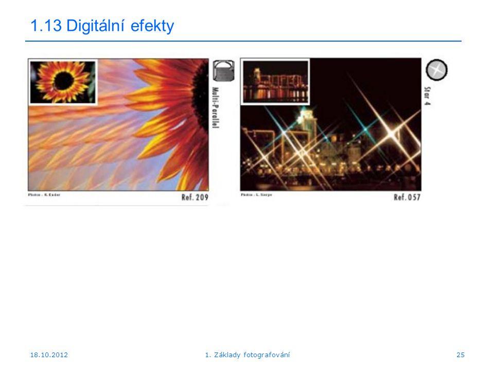 18.10.201225 1.13 Digitální efekty 1. Základy fotografování