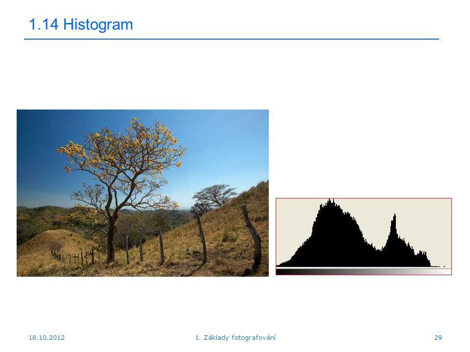 18.10.201229 1.14 Histogram 1. Základy fotografování