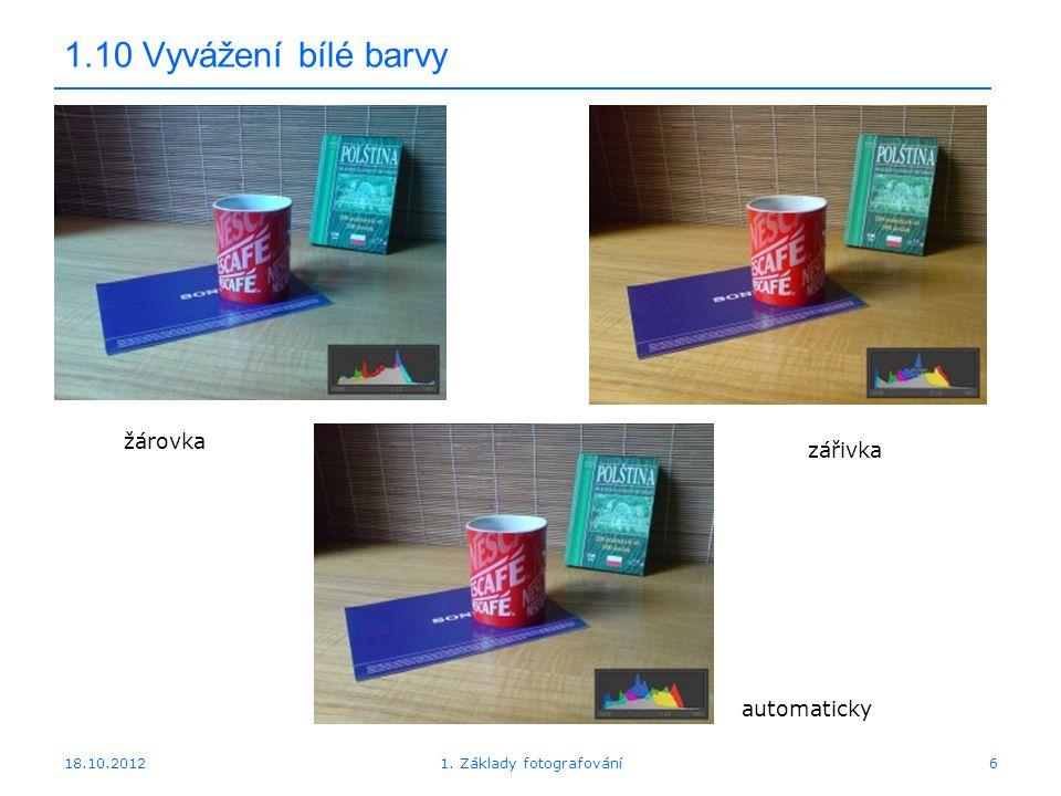 18.10.20126 1.10 Vyvážení bílé barvy 1. Základy fotografování žárovka zářivka automaticky