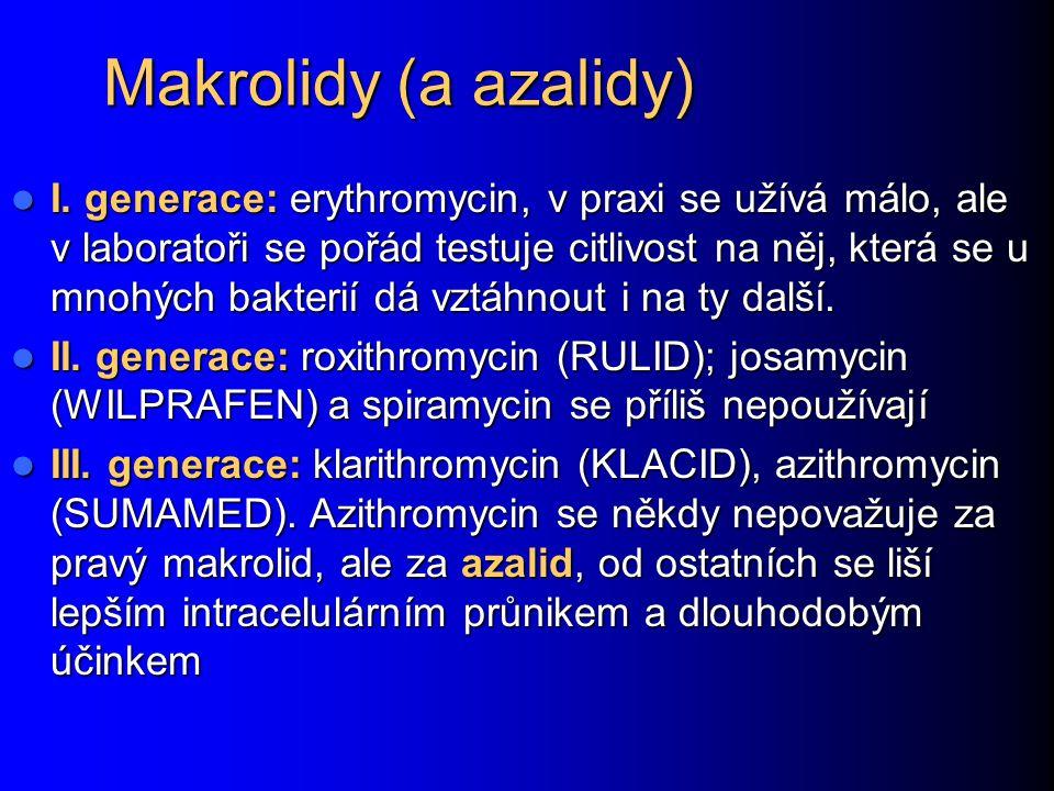 Makrolidy (a azalidy) I. generace: erythromycin, v praxi se užívá málo, ale v laboratoři se pořád testuje citlivost na něj, která se u mnohých bakteri