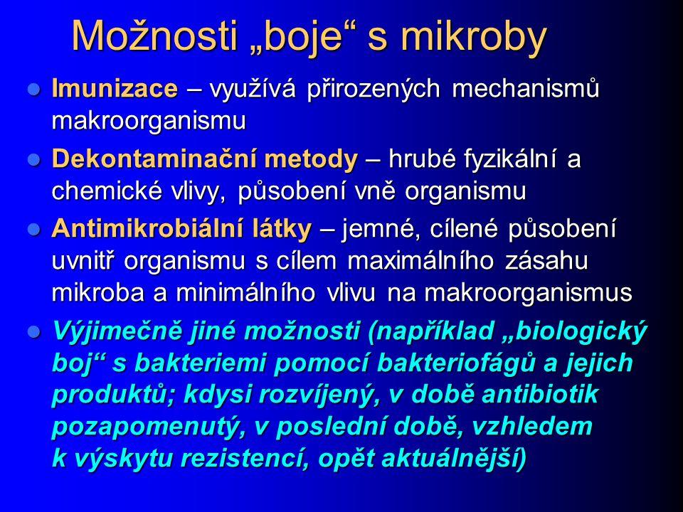 """Možnosti """"boje"""" s mikroby Imunizace – využívá přirozených mechanismů makroorganismu Imunizace – využívá přirozených mechanismů makroorganismu Dekontam"""