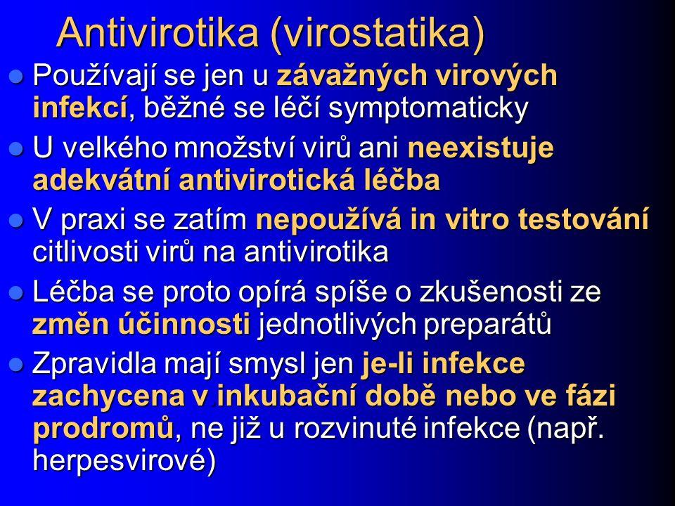 Antivirotika (virostatika) Používají se jen u závažných virových infekcí, běžné se léčí symptomaticky Používají se jen u závažných virových infekcí, b