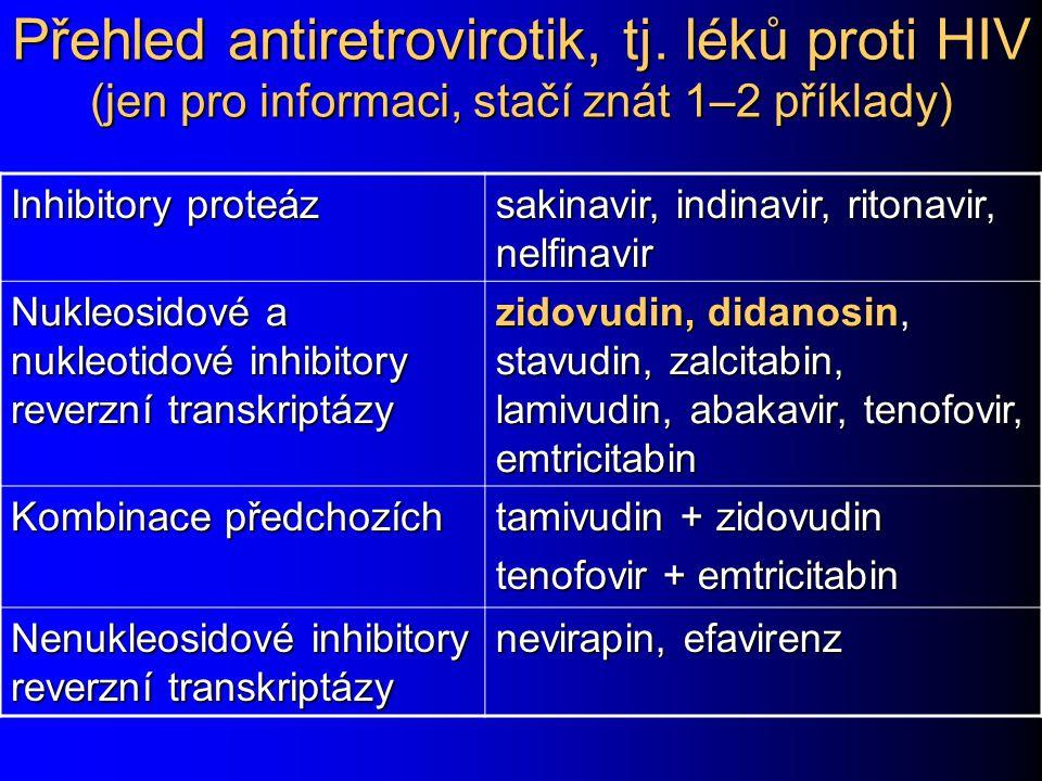 Přehled antiretrovirotik, tj. léků proti HIV (jen pro informaci, stačí znát 1–2 příklady) Inhibitory proteáz sakinavir, indinavir, ritonavir, nelfinav