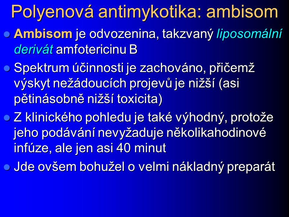 Polyenová antimykotika: ambisom Ambisom je odvozenina, takzvaný liposomální derivát amfotericinu B Ambisom je odvozenina, takzvaný liposomální derivát