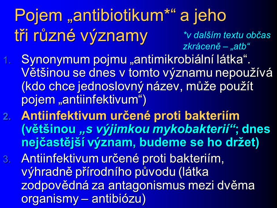 """Pojem """"antibiotikum*"""" a jeho tři různé významy 1. Synonymum pojmu """"antimikrobiální látka"""". Většinou se dnes v tomto významu nepoužívá (kdo chce jednos"""