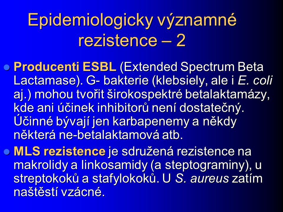 Epidemiologicky významné rezistence – 2 Producenti ESBL (Extended Spectrum Beta Lactamase). G- bakterie (klebsiely, ale i E. coli aj.) mohou tvořit ši