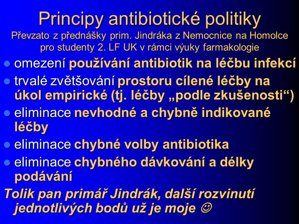 Principy antibiotické politiky Převzato z přednášky prim. Jindráka z Nemocnice na Homolce pro studenty 2. LF UK v rámci výuky farmakologie omezení pou