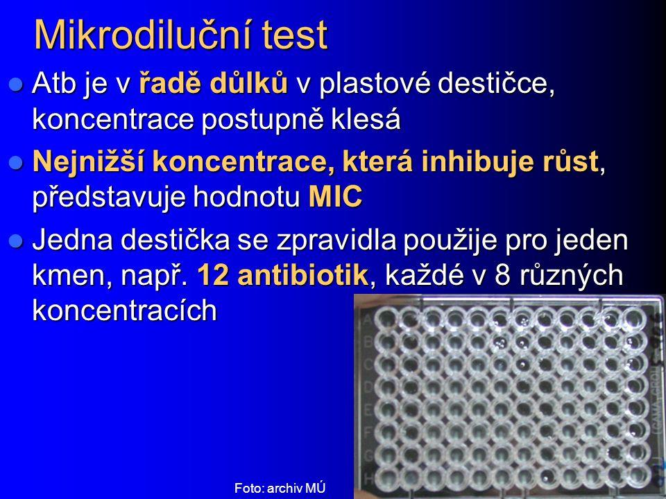 Mikrodiluční test Atb je v řadě důlků v plastové destičce, koncentrace postupně klesá Atb je v řadě důlků v plastové destičce, koncentrace postupně kl