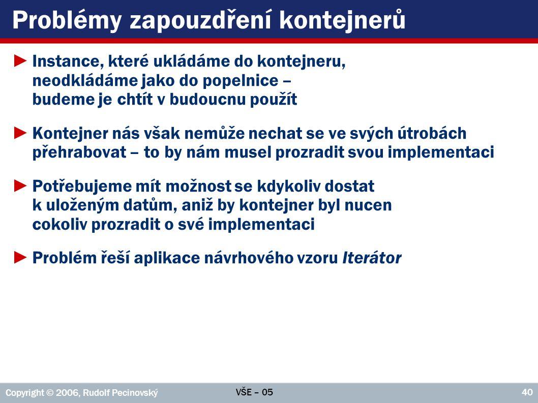 VŠE – 05 Copyright © 2006, Rudolf Pecinovský 40 Problémy zapouzdření kontejnerů ►Instance, které ukládáme do kontejneru, neodkládáme jako do popelnice
