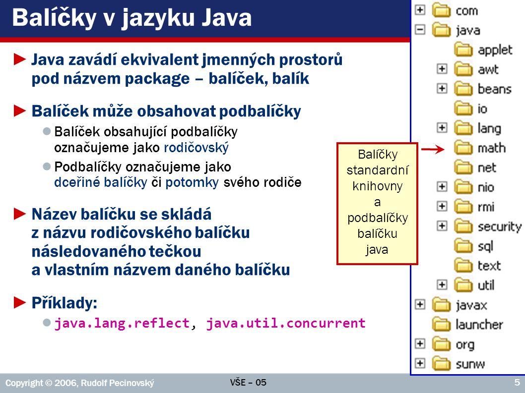 VŠE – 05 Copyright © 2006, Rudolf Pecinovský 5 Balíčky v jazyku Java ►Java zavádí ekvivalent jmenných prostorů pod názvem package – balíček, balík ►Ba