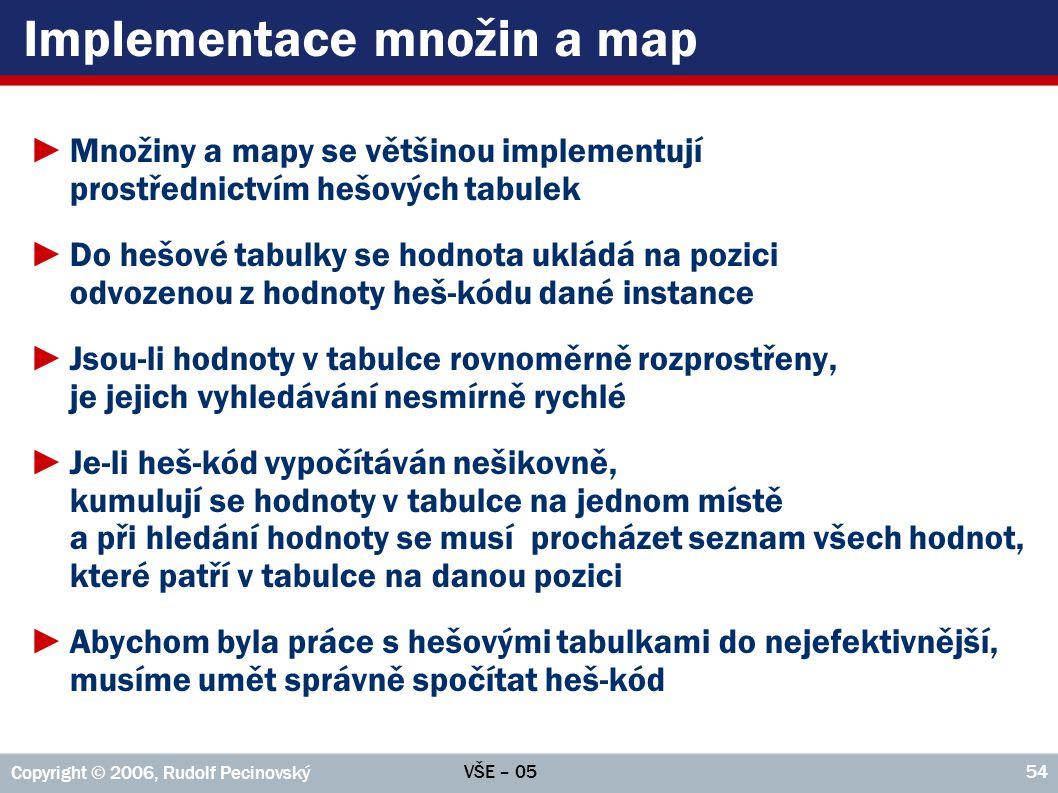 VŠE – 05 Copyright © 2006, Rudolf Pecinovský 54 Implementace množin a map ►Množiny a mapy se většinou implementují prostřednictvím hešových tabulek ►D