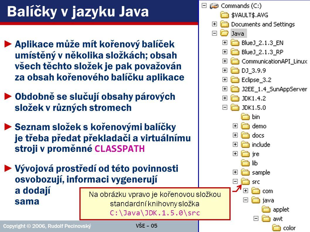 VŠE – 05 Copyright © 2006, Rudolf Pecinovský 8 Příkaz package ►Zdrojový kód každé třídy musí začínat příkazem package deklarujícím název balíčku, do nějž třída patří; před ním smí být jen bílé znaky a komentáře ►Příkaz_package: package název_balíčku ; ►Výjimkou jsou pouze třídy z kořenového balíčku, které příkazem package naopak začínat nesmí ►Kořenový balíček není plnohodnotný, řada konstrukcí v něm není použitelná  používá se proto jen pro rychlé testy proveditelnosti některých nápadů (a v prvních lekcích výuky)