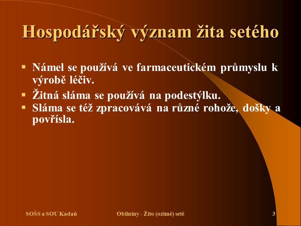 SOŠS a SOU KadaňObilniny - Žito (ozimé) seté3 Hospodářský význam žita setého  Námel se používá ve farmaceutickém průmyslu k výrobě léčiv.  Žitná slá
